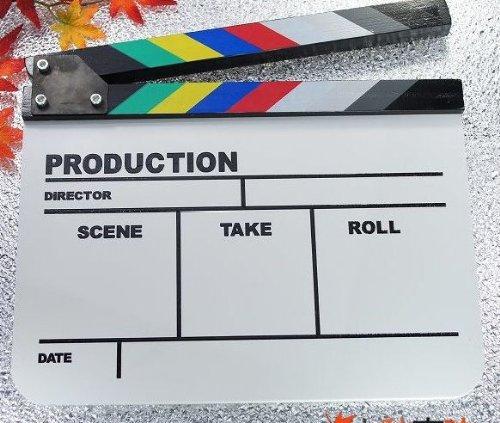 ドラマ・映画撮影・自主制作用 アクリル製 ホワイトアクリルボード式 業務用 カチンコ カラー柄