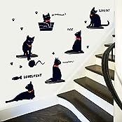 Syga Black Little Cute Cat Wall Stickers A_MSHM