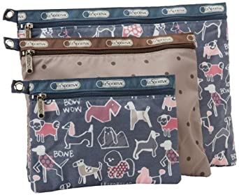 LeSportsac 3 Pack Of Cosmetic Case,Bow Wow/Multi,One Size