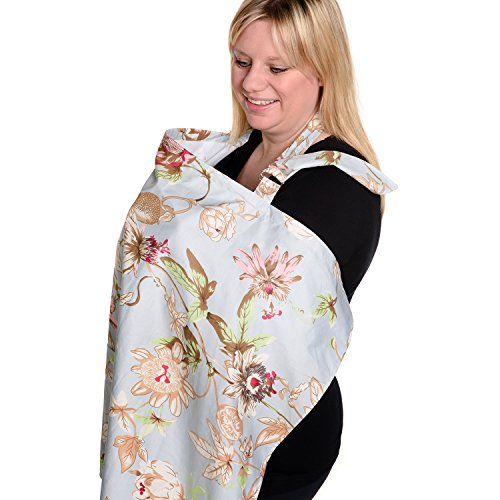 BEST LARGE Nursing Cover for Breastfeeding - Breathable Organic Cotton - Cover-up for Feeding Baby - Can be Used for Car Seat Cover or Sunshade - PLUS E-BOOK ON BREASTFEEDING