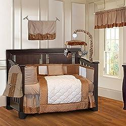 BabyFad Minky Brown 10 Piece Baby Crib Bedding Set