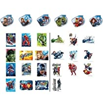 24 Marvel Avengers Super Hero Cupcake Rings with 22 Avengers Stickers & Tats - Super Hero Bundle