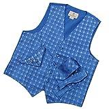 VS1034-S Blue Plaids Mens Vest Tie Cufflinks Bowtie Hanky Groom Gifts By Y&G