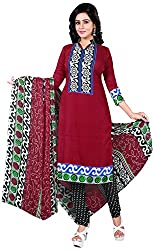 Manmauj Women's Cotton Unstitched Dress Material (MM10059DRED, Red)