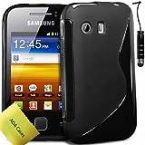 TPU Silicone Gel S-Series Etui Coque Housse Pour Samsung Galaxy Y GT-S5360 + Mini-Stylet + Protecteur d'écran (Noir)