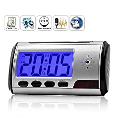 Gadget Advice Remote Control Spy Hidden Camera Motion Detection Alarm Clock Video Recorder with LCD Display