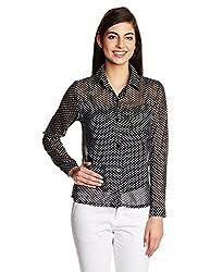 Kimyra Polka Print Button Down Shirt in Black