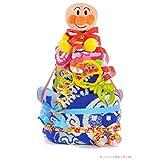すまいる おむつケーキ < アンパンマン > 2段 出産祝い ギフト 【 名入れ 刺繍 & メッセージカード & ラッピング 無料 】 ( オムツ パンパース M ) 男の子 女の子 お祝い プレゼント ( タンバリン ブルー )