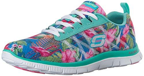 Skechers Flex AppealFloral Bloom - zapatilla deportiva de material sintético mujer, color azul, talla 38
