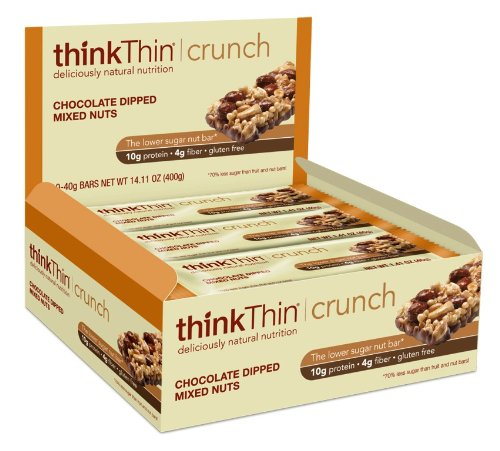 thinkThin Crunch, Chocolate Dipped Mixed Nuts, Gluten Free, 10 - 40 gram Bars