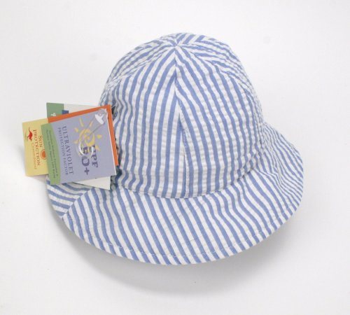 Wallaroo Lorikeet Infant Sun Hat - UPF 50+ (White/Blue Stripe)