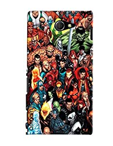 Omnam All Super Heros Painted Pattern Printed Designer Back Cover Case For Sony Xperia M2