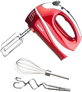 VonShef Professional 300W Hand Mixer, Red - Includes Chrome Beaters, Dough Hooks, Balloon Whisk + 5 Speed With Turbo Button from VonShef