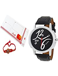 Rakhi Gift For Brother,Black Dial Analogue Casual Wear Watch With FreeRakhi (Rakhi Designs May Vary) - IZWARAKHI2003