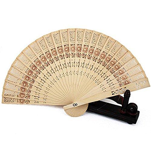 Topbeu Chinese Style Classic Handheld Folding Openwork Sandalwood Fan