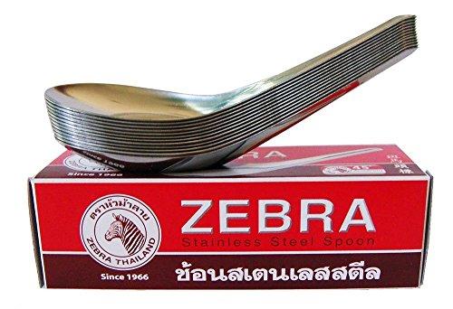 Cuillères chinois en acier inoxydable marque Zebra Lot de 12