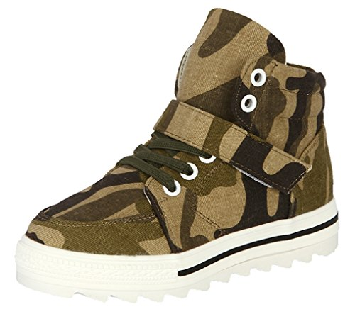Legend E.C Boys' And Girls' Lesliee Fashionable Camouflage Boots Magic Stick High Top Shoes Skateboard Sneakers (10, Army Green)