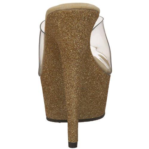 Bordello by Pleaser Women's Vivian-23 Sandal,Clear Gold Mini Glitter,5 M US