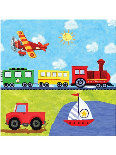 "On The Go 6.5"" Lunch Napkins (16) Birthday Car Train Boat Truck Party"