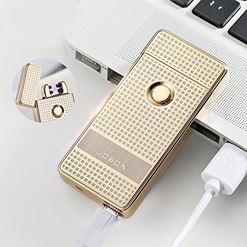 jobon-dual-arc-electronic-lighter-zb-316-high-end-boutique-windproof-usb-rechargeable-gold-by-jobon