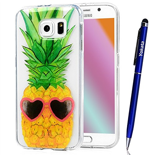 Cover Samsung Galaxy S6, Yokata TPU Silicone Custodia Trasparente Crystal Clear Coque Soft Morbido Bumper Backcover Kawaii Cartoon Hülle Strane Case et Ultra Slim Protettivo Cover + 1*Penna Stilo - Ananas