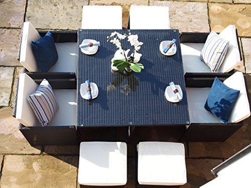 Rome Rattan Garden Conservatory Cube 8 Seat Dining Set WITH FREE COVER WORTH £60 FOR A LIMITED TIME