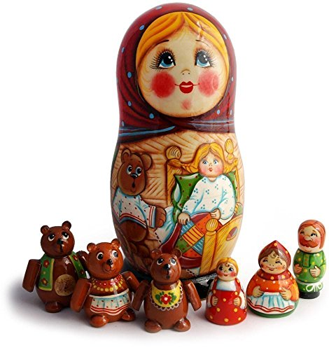 Made in Russia Nesting Dolls Matryoshka - Goldilocks and the Three Bears Fairytale Set - Matryoshka with Miniature Fairy Figurines - Wooden Babushka Doll - 7pc set - Family of Bear Toys -7