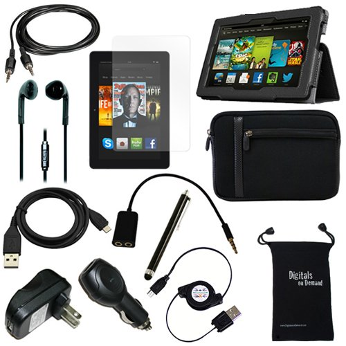 """DigitalsOnDemand ® 12-Item Accessory Bundle Kit for New Amazon Kindle Fire HDX 7"""" Tablet - Leather Case, Sleeve Cover, Screen Protector, Stylus Pen, USB Cables + Chargers (will only fit Kindle Fire HD"""