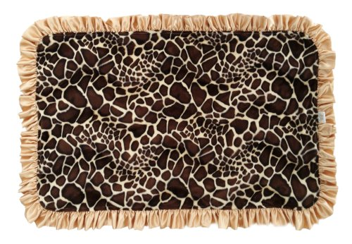 Patricia Ann Designs Satin Ruffles Giraffe Natural Cuddle Indulgence Blanket, Gold