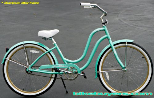 Anti-Rust Aluminum frame, Fito Verona Alloy 1-speed Mint Green/Khaki Women's Beach Cruiser Bike Bicycle Micargi Schwinn Nirve Firmstrong Style