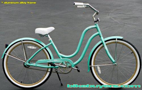 Anti-Rust Aluminum frame, Fito Verona Alloy 1-speed Mint Green/Khaki Women's Beach Cruiser Bike Bicycle Micargi Schwinn Nirve Firmstrong Style