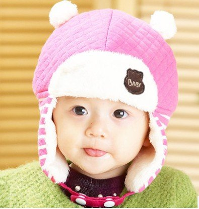 TIAN® - Nette Kinder Winter-Hippie Ohrenklappen-Mütze Lei Feng Cap 3504 Größe (48-50cm) - Pink