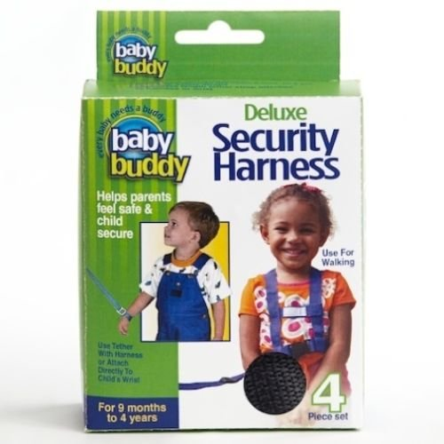 Baby Buddy 4 Pc Deluxe Child Security Harness Wrist Tether Safety Leash - Black front-408026