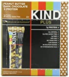 KIND PLUS, Peanut Butter Dark Chocolate + Protein, Gluten Free Bars (Pack of 12)
