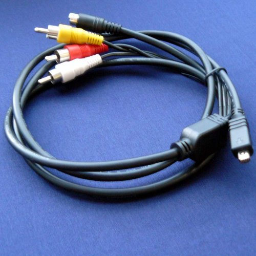 sony-handycam-dcr-sr47-e-dcr-sr47-compatible-av-a-v-tv-out-audio-video-cable-cord-lead-5-feet-black-