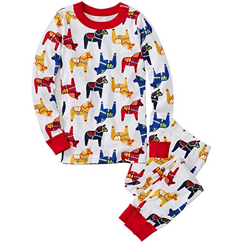 Hanna Andersson Little Boy Long John Pajamas In Organic Cotton, Size 100 (4T), Dala Horse front-810354