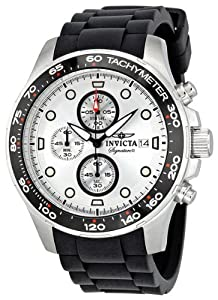 Invicta Signature II Chronograph Silver Dial Black Rubber Strap Mens Watch 7370