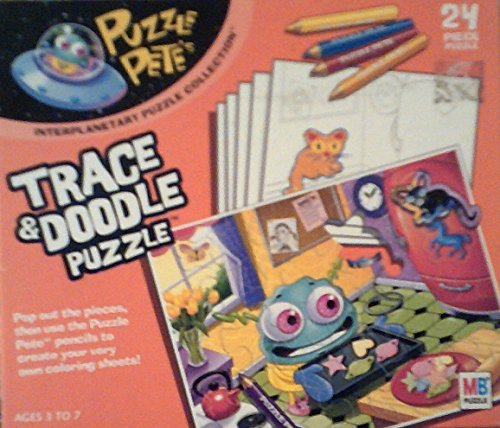 Puzzle Pete's Trace and Doodle 24 Piece Puzzle, with Coloring Pencils and Coloring Sheets