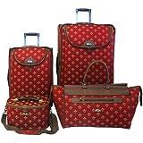 American Flyer Fleur De Lis 4-Piece Luggage Set, Red