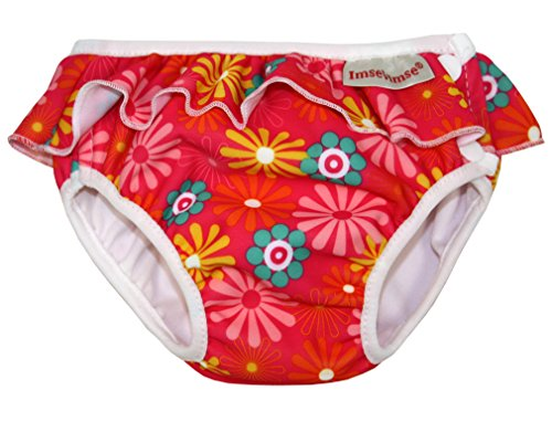 Imse Vimse Swim Diaper (24-31 pounds - Extra Large, Pink Daisy with Frill) - 1