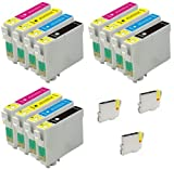 3 Full Sets + 3 Extra Black Inks: 15 High Capacity Compatible InK Cartridges T1281 Black T1282 Cyan T1283 Magenta T1284 Yellow For Epson S22 SX125 SX130 SX235 BX305F BX305FW PLUS SX420W SX425W SX430W SX435W SX438 SX440 SX445W inkjet Printer