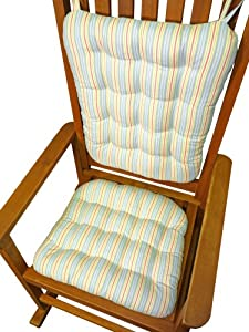 Rocking Chair Pad Set Alcott Pastel Blue Stripe Rocker Seat Cushion B