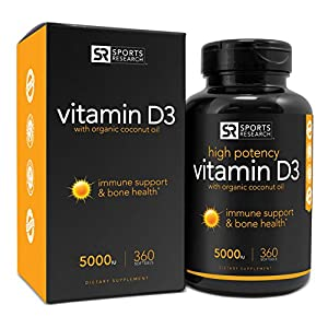 Vitamin D3 (5000iu) 360 mini-capsules; Enhanced with Organic Coconut Oil for Better Absorption; Made In USA