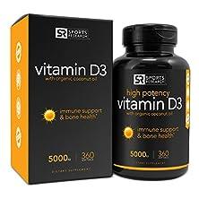 buy Vitamin D3 (5000Iu) In Cold-Pressed Organic Coconut Oil For Better Absorption; Non-Gmo & Gluten Free, 360 Mini Liquid Softgels, Made In Usa