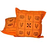 Little India Kantha Embroidery Thread Work Cotton 2 Piece Cushion Cover Set - Orange