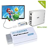 Holloly Wii To HD-TV/HD 720P / 1080P WII to HDMI Converter Supports All Wii Display Modes adapter