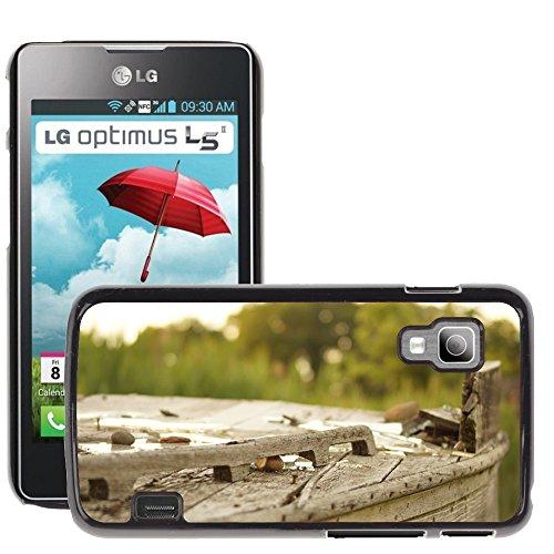 Carcasa Funda Prima Delgada SLIM Casa Case Bandera Cover Shell para // M00150040 Legno Broke Outdoor Vecchia Struttura // LG Optimus L5 II Dual E455 / E460