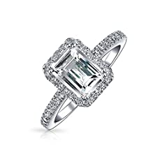 buy Bling Jewelry Emerald Cut Pave Cz 925 Silver Vintage Style Engagement Ring 1.5Ct