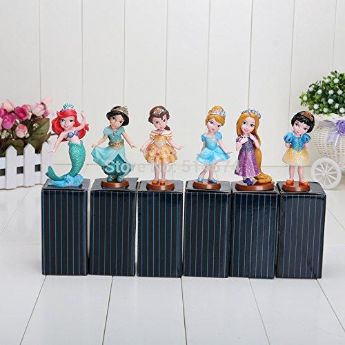 9cm with box Princess PVC Cinderella Snow White Rapunzel Jasmine Thinkbell Bella Ariel Figure Dolls For Girl 6pcs/lot