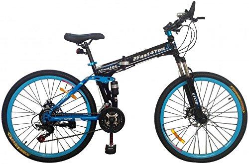26' Zoll Fully Klapprad Mountainbike MTB Klappfahrrad Faltrad vollgefedert, Farben:schwarz-blau